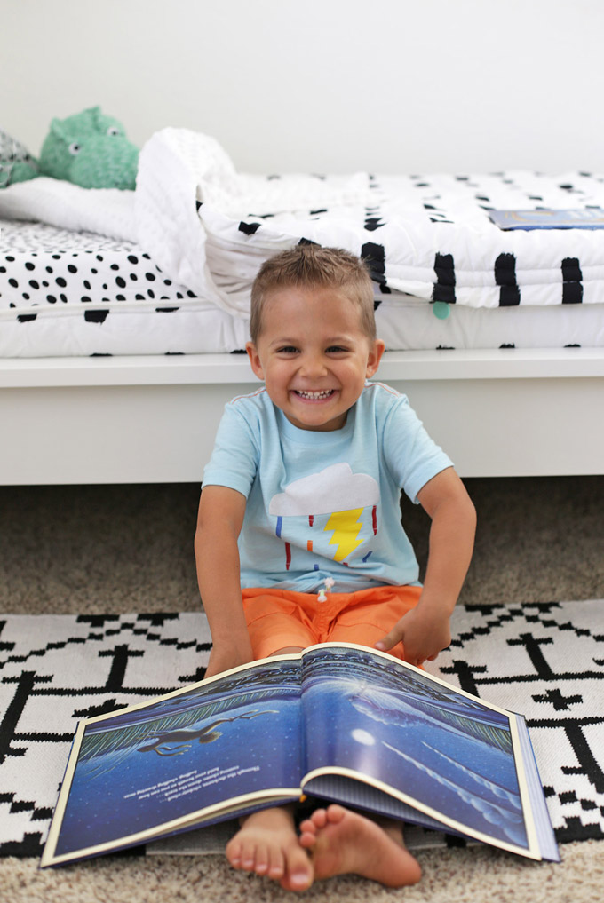 We're so happy with our Black and White Boy's Bedroom!