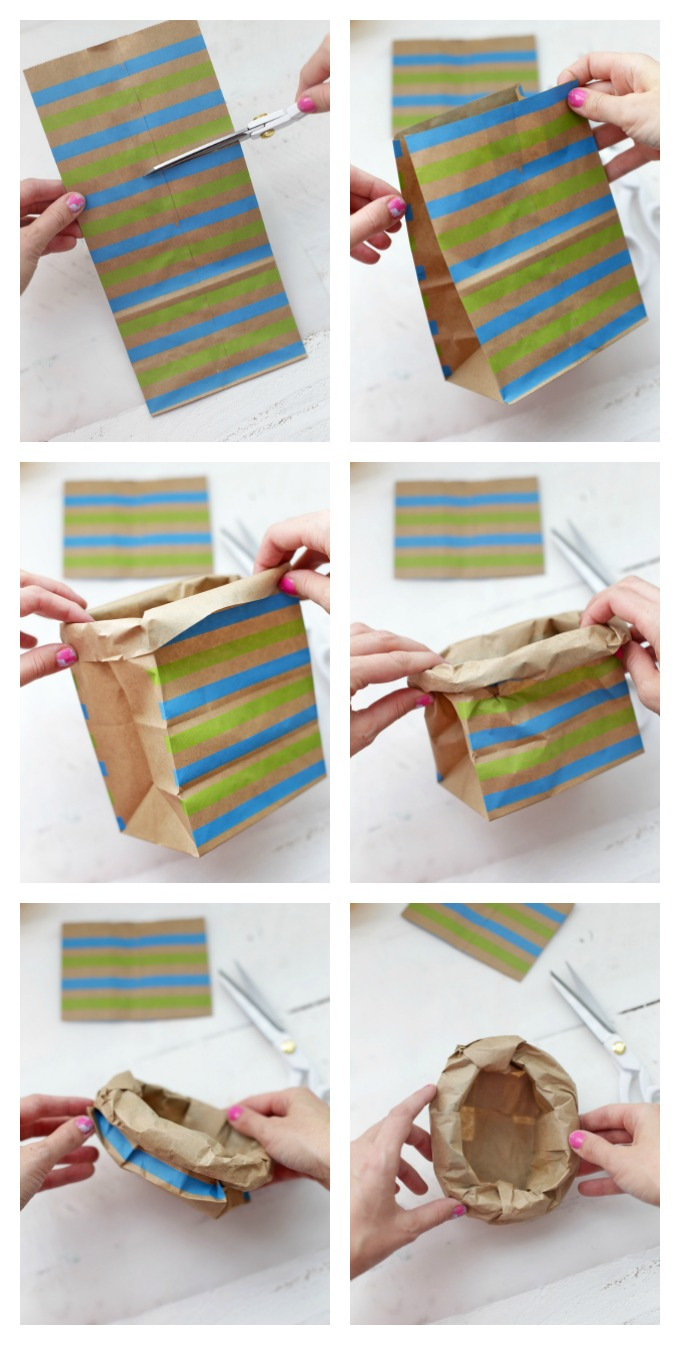 How to Make a Paper Bag Nest - These make such cute table settings for Easter!