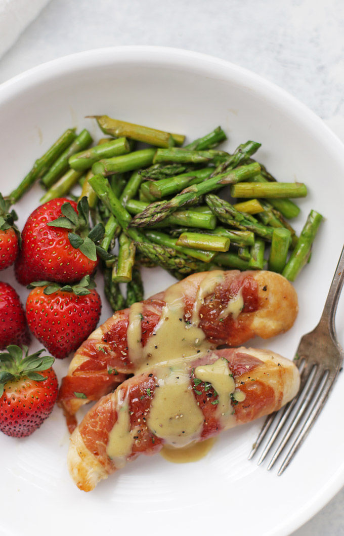 Prosciutto Wrapped Chicken with Honey Mustard Sauce - one of our favorite healthy dinners! (Gluten free, paleo)