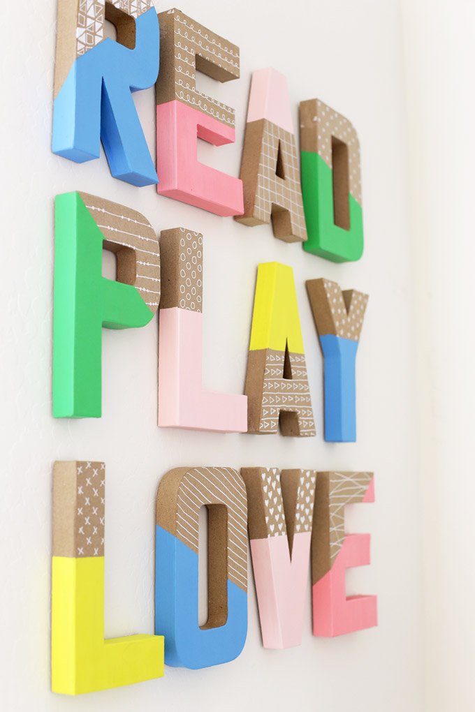 How to Make Colorful Wall Letters - These are so easy and inexpensive!