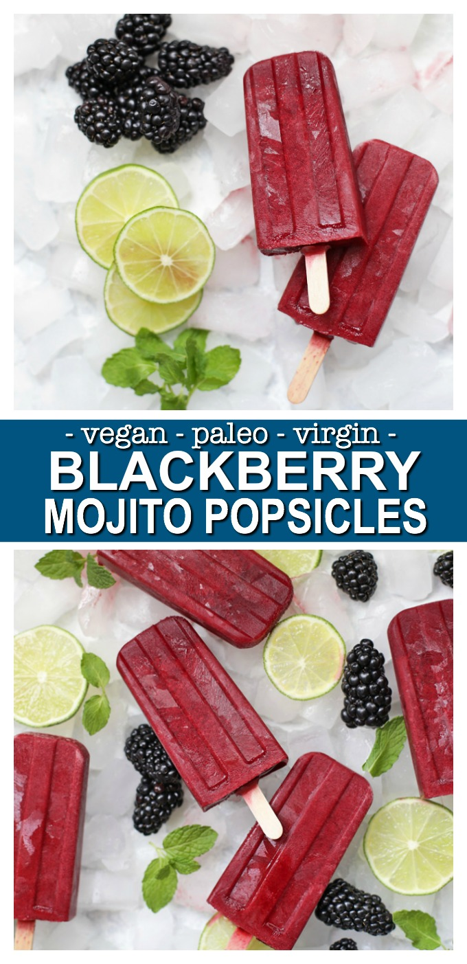 These homemade popsicles are so refreshing! Made from sweet-tart blackberries, a twist of lime, and a kiss of mint, they're the perfect family friendly recipe for summer!