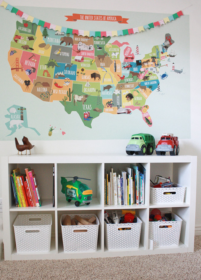Simple toy organization and a big giant wall map. Love the color this adds to the room!