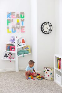 Neutral playroom - Love the pops of color in this one!