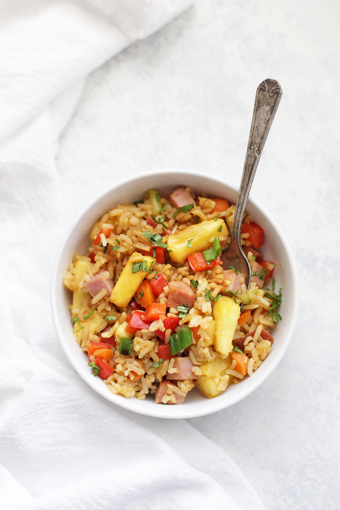 Pineapple Fried Rice - Such a fresh twist on the original! An easy one-pan gluten free dinner!