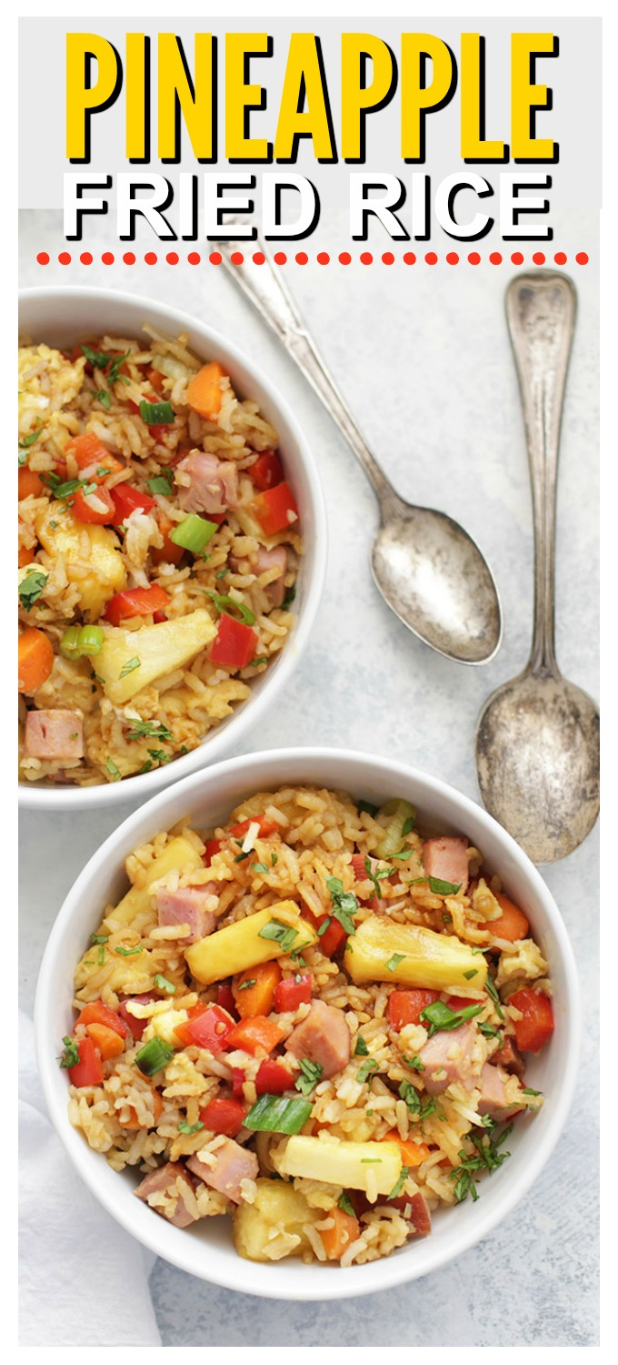 Pineapple Fried Rice - Such a fresh twist on the original! An easy one-pan gluten free dinner! (Can be vegetarian or vegan, too!)
