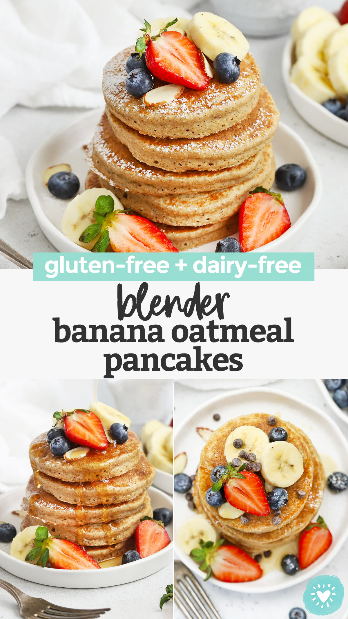 Blender Banana Oatmeal Pancakes - These healthy banana oatmeal pancakes are so easy! The perfect pancakes for weekdays or lazy weekends. (Gluten-free, dairy-free) // Healthy banana pancakes // banana oat pancakes // gluten-free banana pancakes #pancakes #glutenfree #healthybreakfast #banana #oatmeal