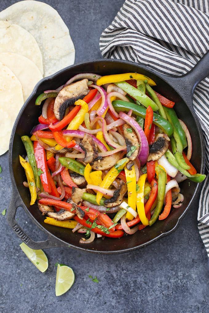Sizzling Vegetable Fajitas! A SUPER flavorful vegetarian/vegan take on fajitas! (Gluten free, too!)