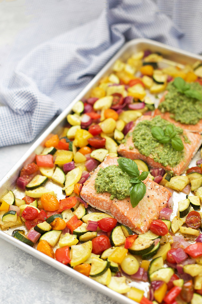 Sheet Pan Pesto Salmon and Veggies - This @alaskaseafood salmon is SO GOOD!