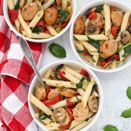 Sausage Pepper Pasta - Roasted Red Peppers and Chicken Sausages make this a delicious weeknight meal! (Gluten free, dairy free)