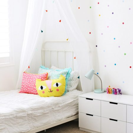 Confetti Polka Dot Walls and Bright pops of color make this such a happy little girl's room! (Love the pink, yellow, and aqua accents!)