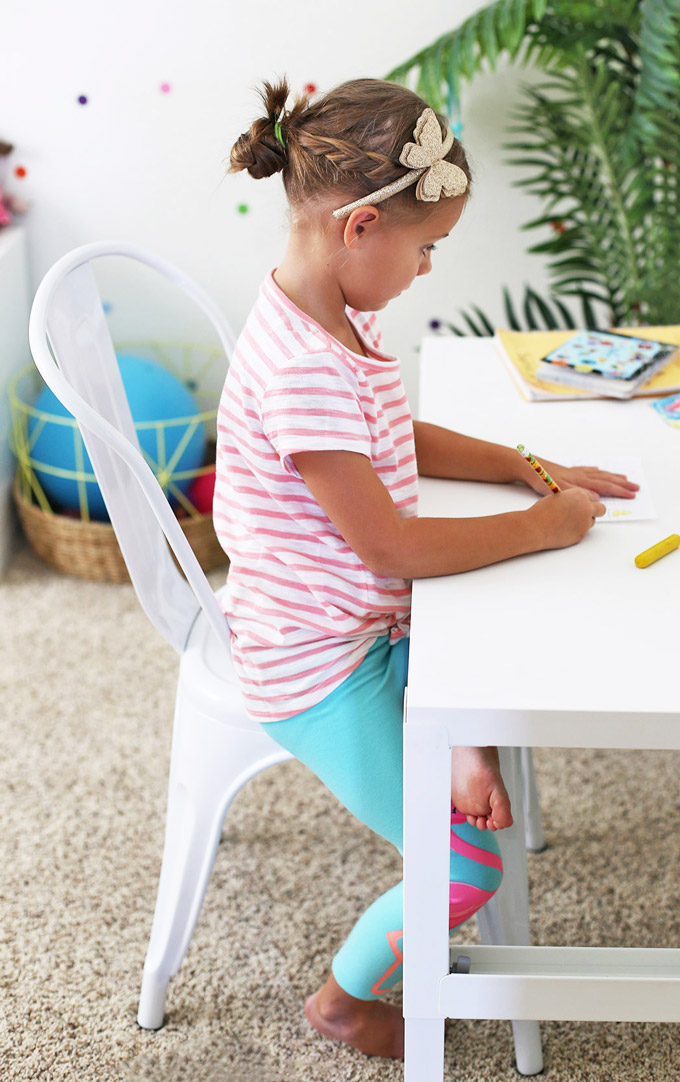 A child-sized desk is perfect for projects, coloring, reading, homework, and play! (This one is height adjustable!)