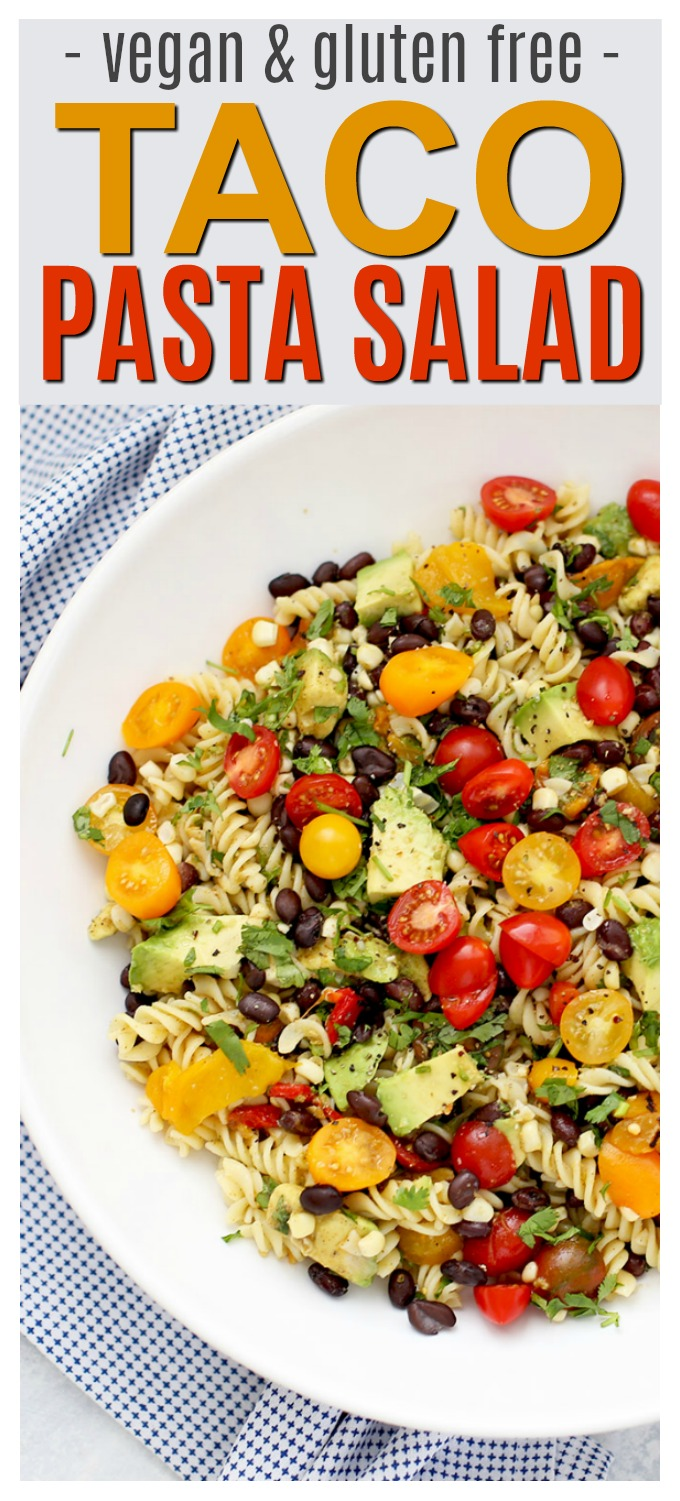 Taco Pasta Salad - Taco salad meets pasta salad in this fresh dish! A yummy vegan take on a summer favorite. (Gluten free & vegan!)