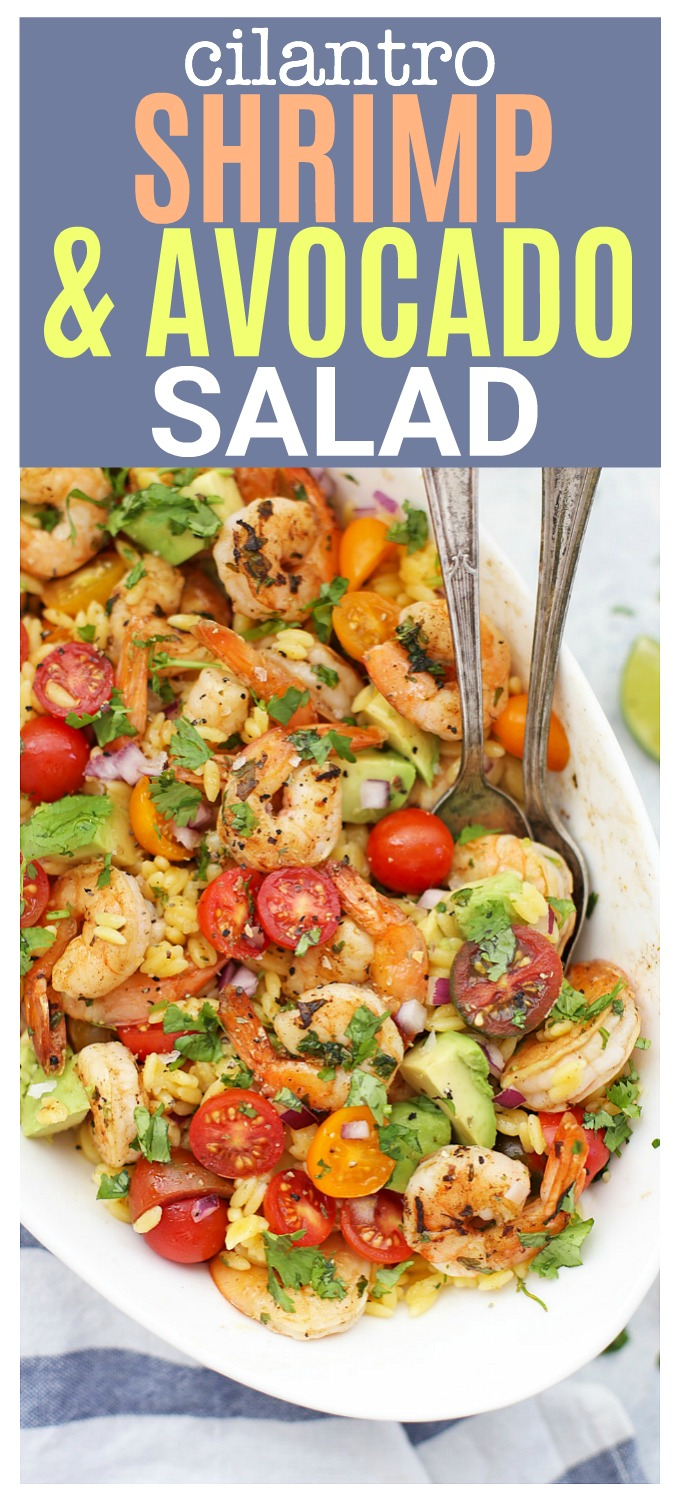 Fresh, fabulous Cilantro Shrimp Salad! I love this with orzo, but it's awesome with quinoa or greens, too! (Gluten free, paleo friendly!)