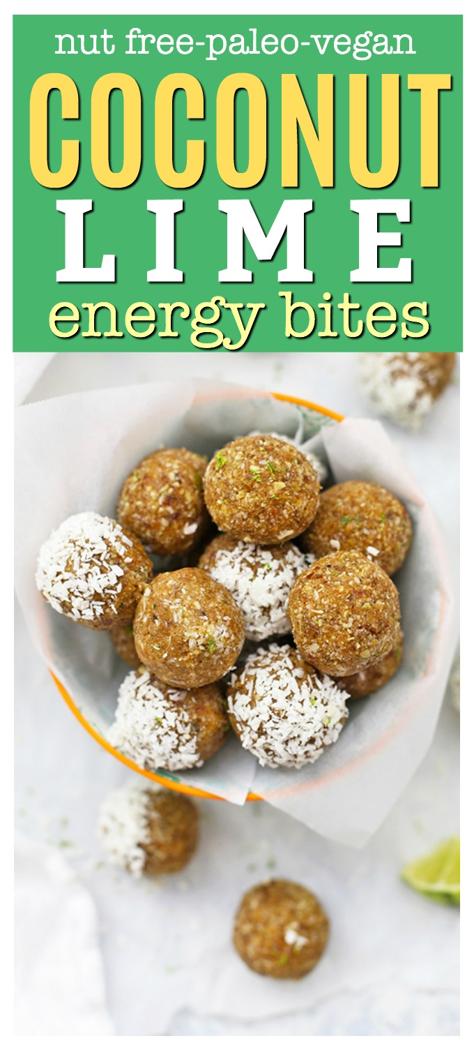 Nut Free Coconut Lime Energy Bites! These school-safe energy bites are perfect for meal prep, healthy snacking, or packing in lunches. Gluten free, vegan, and paleo approved!