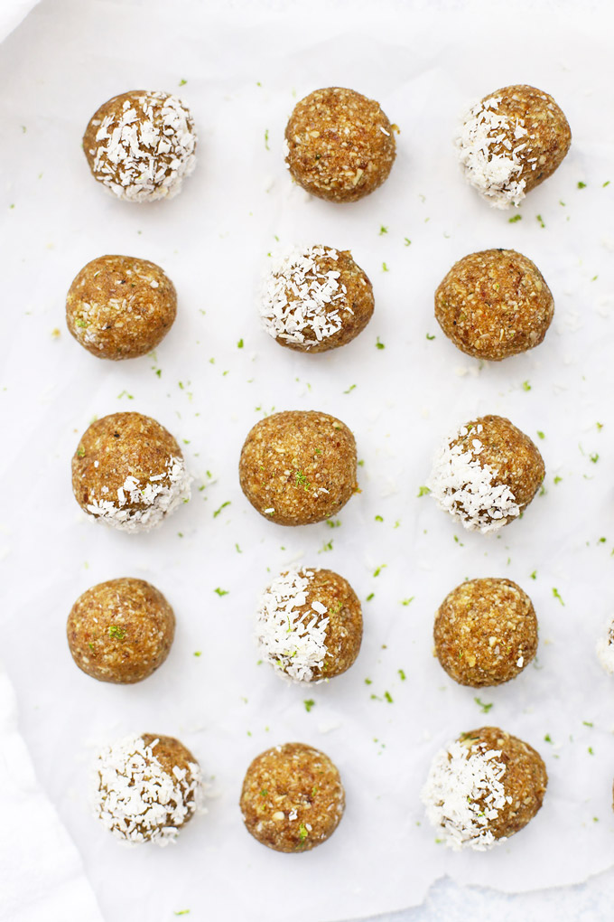 (Nut Free!) Coconut Lime Energy Bites! These are so good! Love that they're school safe--perfect for packing in lunches or after school snacks! (Paleo & Vegan!)