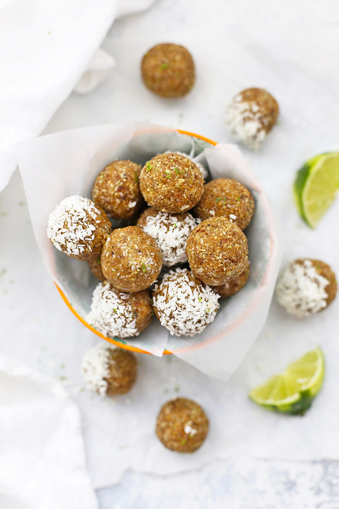 (Nut Free!) Coconut Lime Energy Bites! These are so good! Love that they're school safe--perfect for packing in lunches or after school snacks!