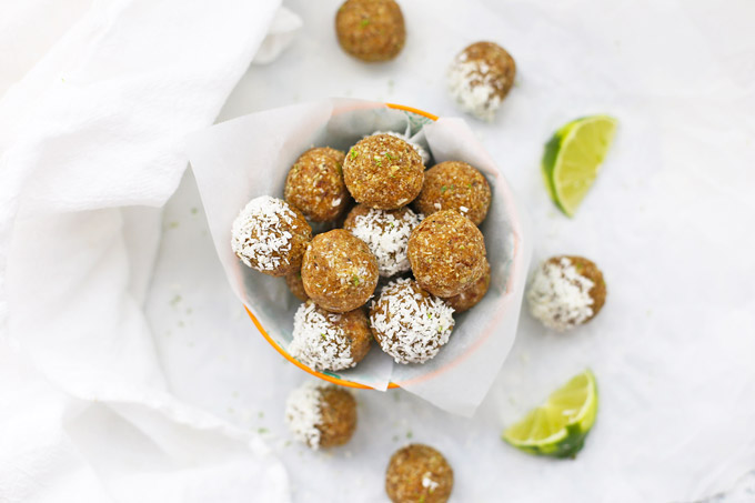 (Nut Free) Coconut Lime Energy Bites! These are amazing! They totally taste like dessert, but made from healthy ingredients. (Paleo, Vegan, Nut Free!)