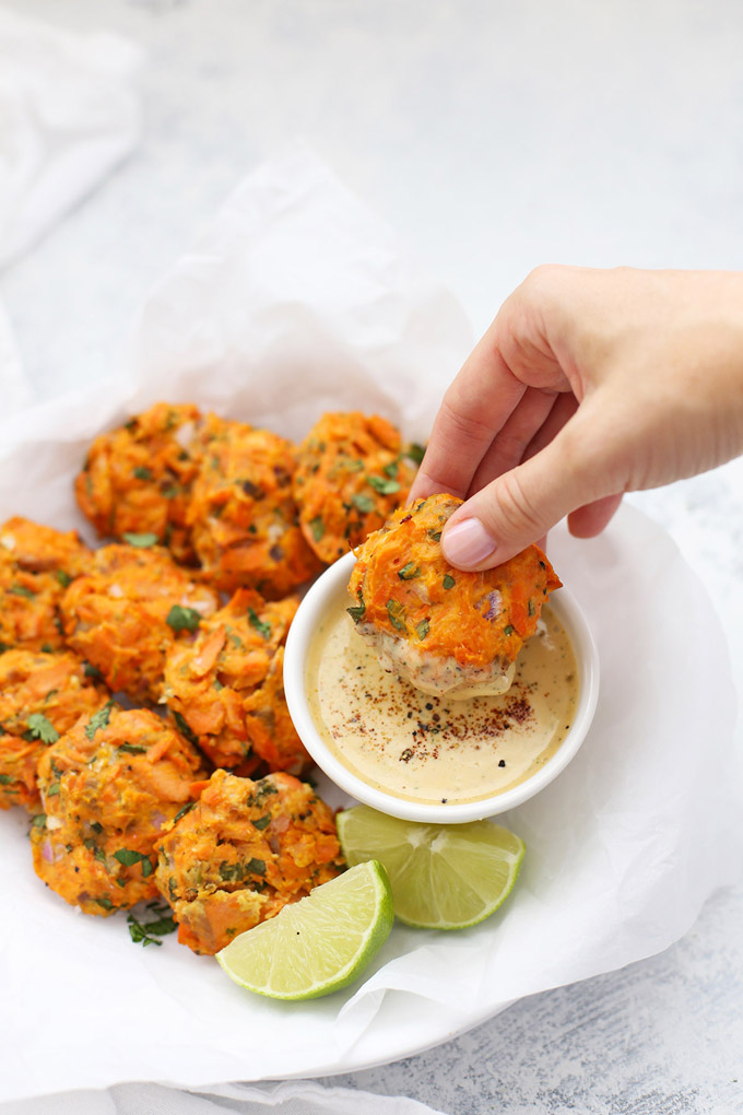 Chipotle Sweet Potato Salmon Cakes from One Lovely Life