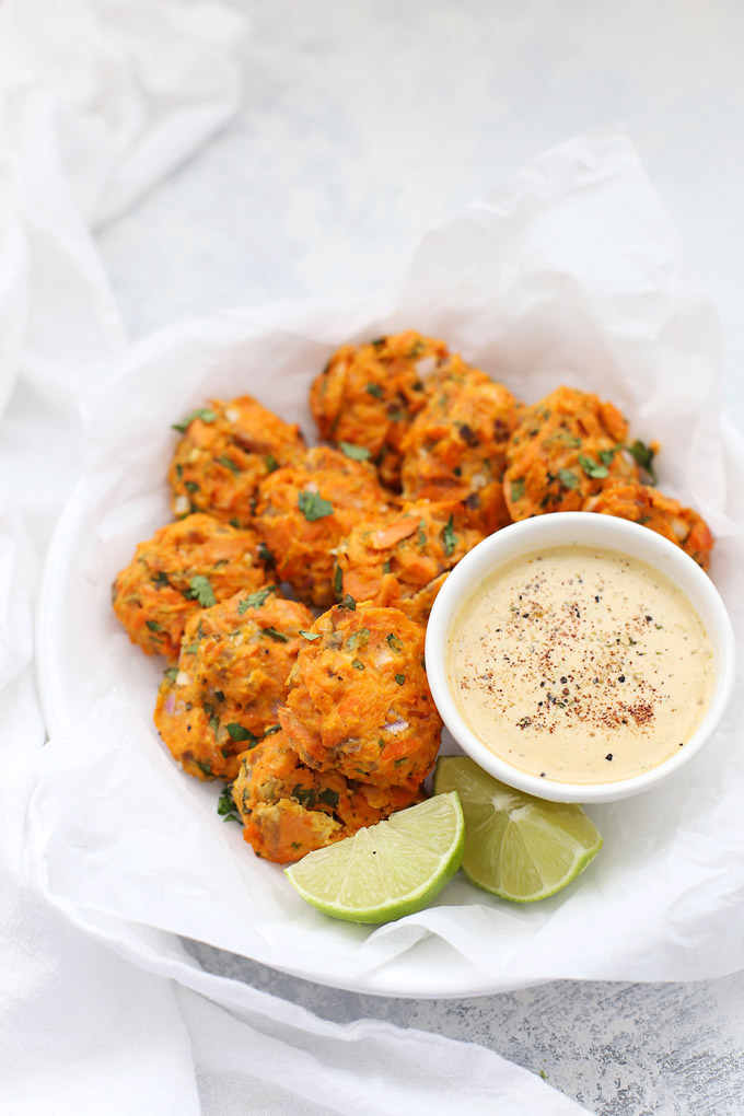 Chipotle Sweet Potato Salmon Cakes - No fillers or empty ingredients in these paleo salmon cakes! They're all flavorful, healthy ingredients!