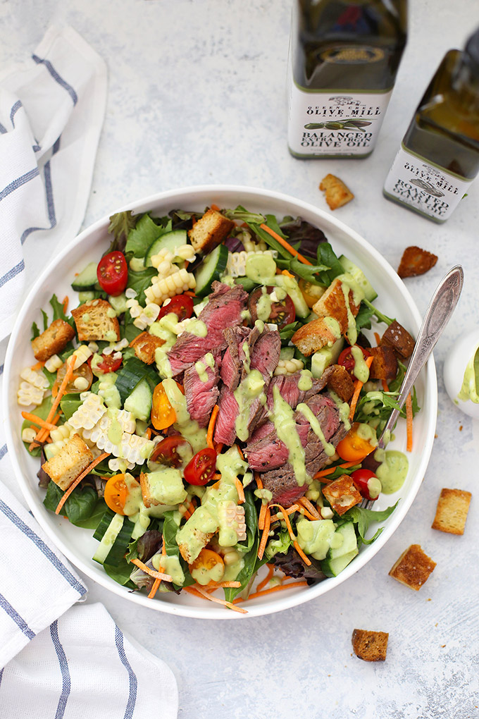 The star of this salad is the Avocado Green Goddess Dressing! Top your salad with steak, shrimp, chicken, or more veggies!