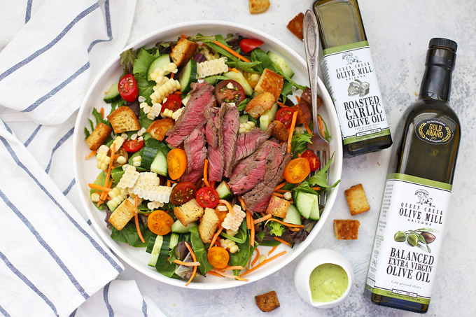 Steak Salad with Avocado Green Goddess Dressing - The star of this gorgeous salad is totally the avocado green goddess dressing. It's bright, tangy, and LOADED with flavor. Serve over steak, chicken, shrimp, and more! (Gluten free, dairy free)