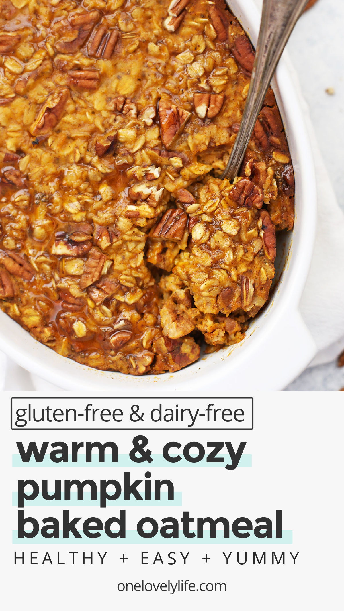 Baked Pumpkin Oatmeal - Studded with pecans and laced with the perfect blend of warm spices, this cozy pumpkin baked oatmeal recipe hits all the right notes! (Gluten free, vegan-friendly) // Pumpkin Oatmeal Recipe // Fall Breakfast // Healthy Pumpkin Recipes // Gluten-Free Breakfast // Healthy Breakfast // Vegan Breakfast // Pumpkin Breakfast Recipes #glutenfree #pumpkin #bakedoatmeal #pumpkinoatmeal #bakedoats #mealprep #fall #vegan #vegetarian