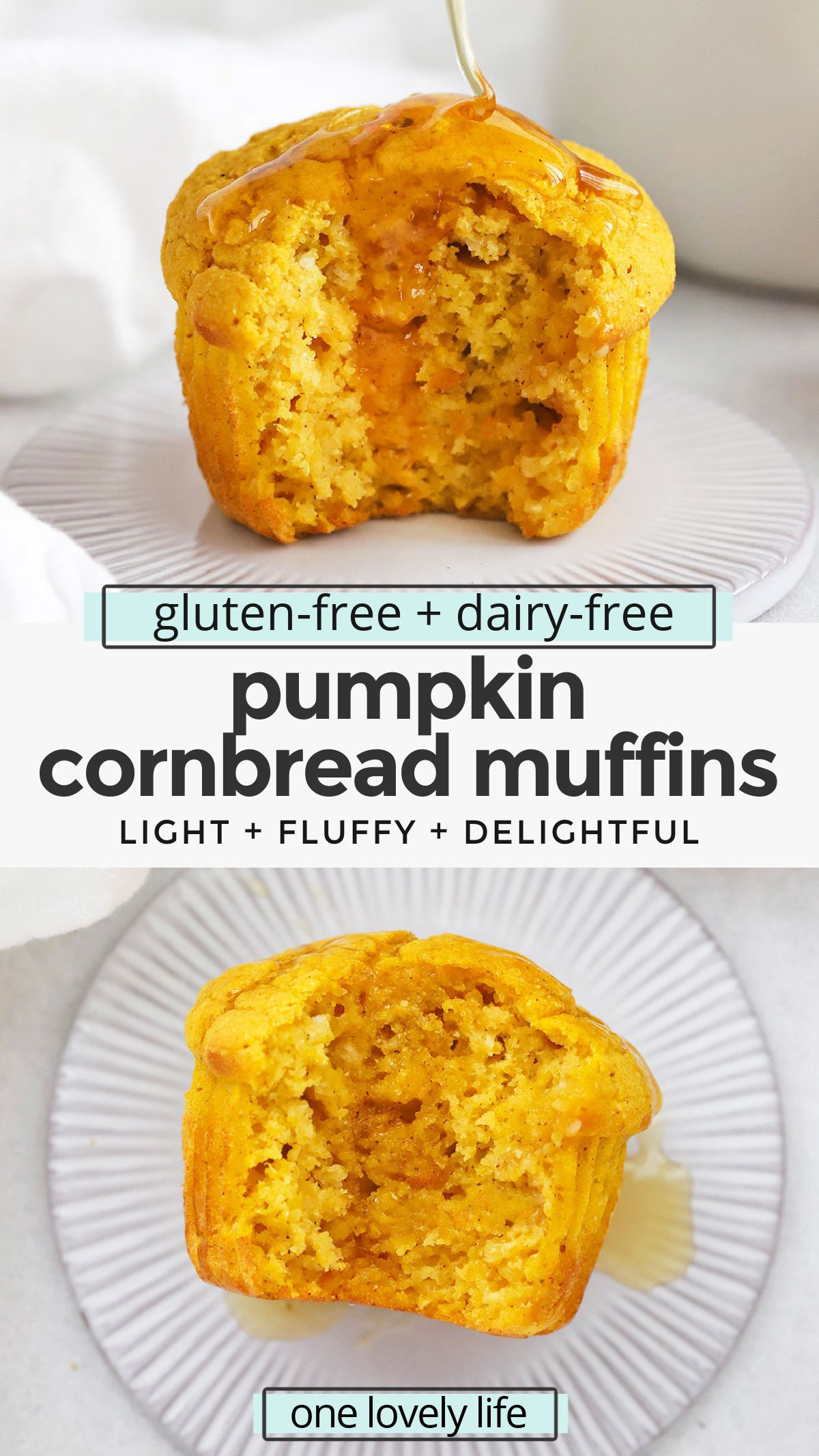 Gluten-Free Pumpkin Cornbread Muffins - These light, fluffy pumpkin cornbread muffins are an all-time favorite. The perfect cozy accompaniment to chilis, soups, salads, and more! (Gluten & Dairy Free) // cornbread muffins // gluten free cornbread muffins // pumpkin cornbread recipe // #glutenfree #dairyfree #cornbread #cornbreadmuffins #pumpkin #pumpkinmuffins