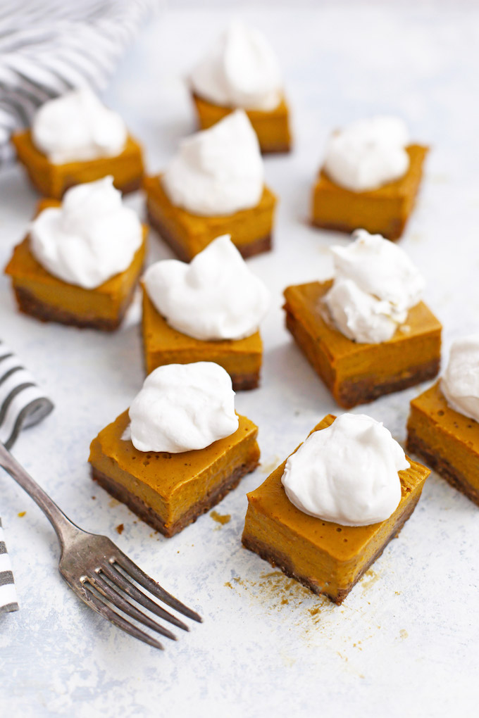 Gluten free, dairy free Pumpkin Pie Bars! These are AMAZING!