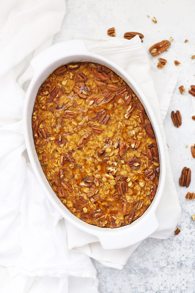 Baked Pumpkin Oatmeal - this gluten free, vegan breakfast is tough to beat!