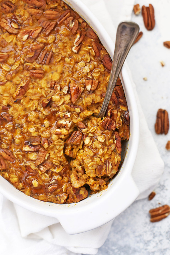 Baked Pumpkin Oatmeal with pecans from One Lovely Life