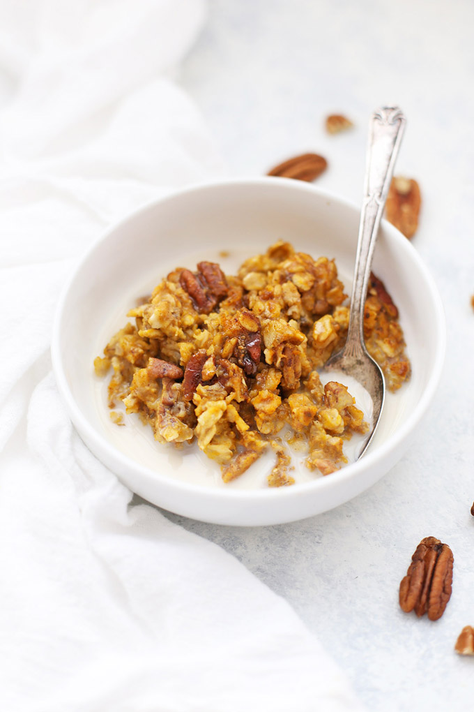 Gluten Free Baked Pumpkin Oatmeal from One Lovely Life