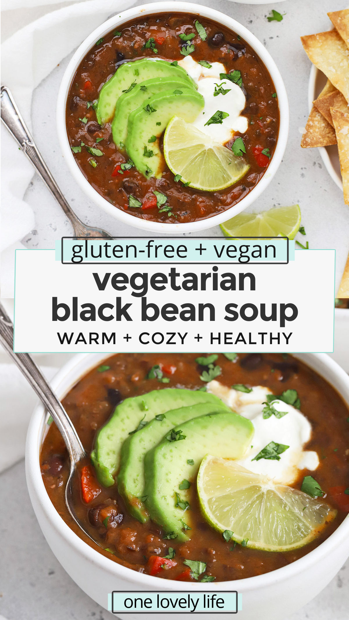 Easy Vegan Black Bean Soup - This healthy black bean soup is so simple to make! You'll love the colors and flavor. (Gluten free & vegan) // Vegetarian Black bean soup // bean soup recipe // vegan soup // vegetarian soup // healthy soup // vegan chili // black bean chili // healthy dinner #healthydinner #healthysoup #vegan #vegetarian #blackbeansoup #meatlessmonday