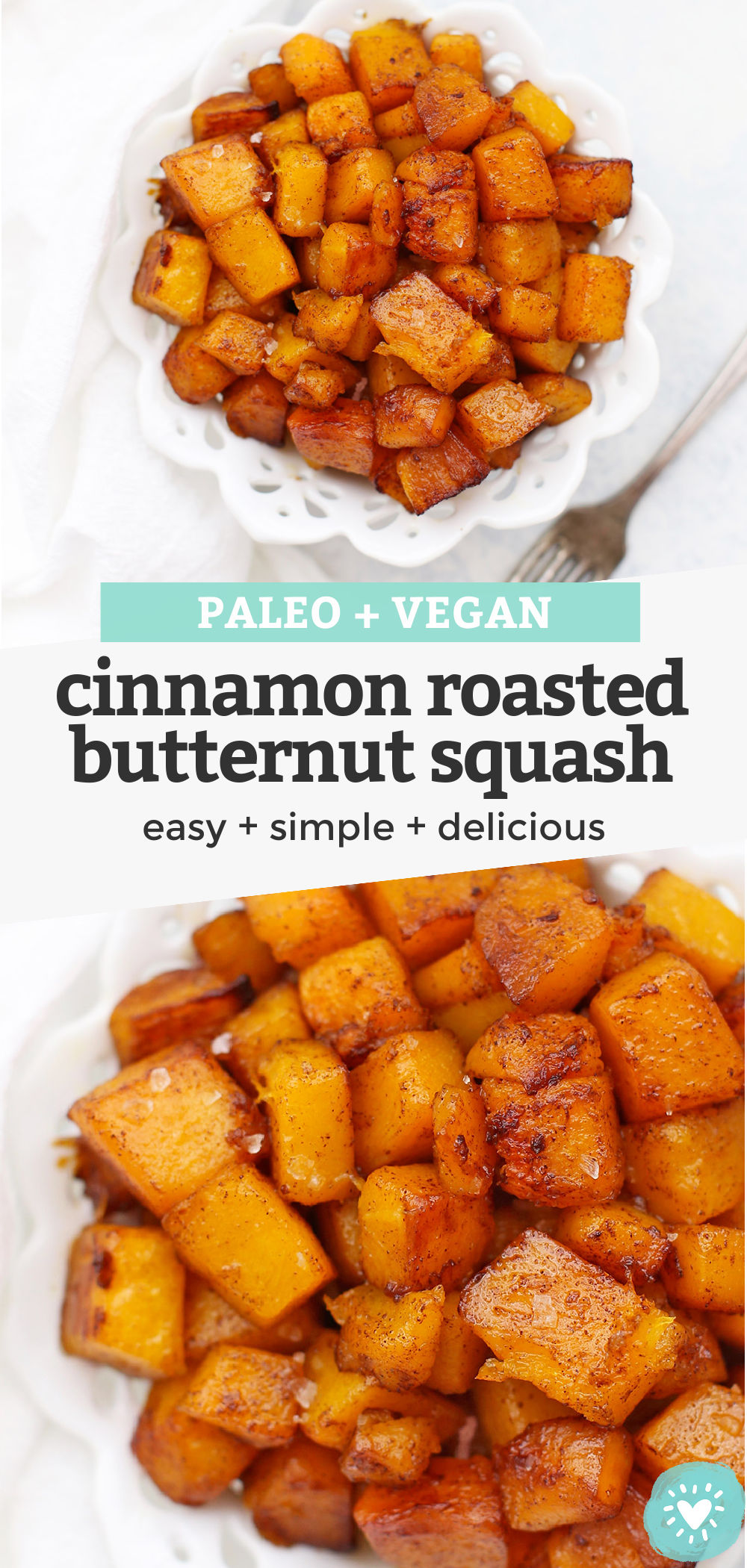 Roasted Cinnamon Butternut Squash - this easy cinnamon squash is such an easy fall side dish! Perfect for Thanksgiving! (allergy-free, vegan, paleo) // Thanksgiving side dish // Roasted squash recipe // Cinnamon Squash Recipe #thanksgiving #paleo #vegan #glutenfree