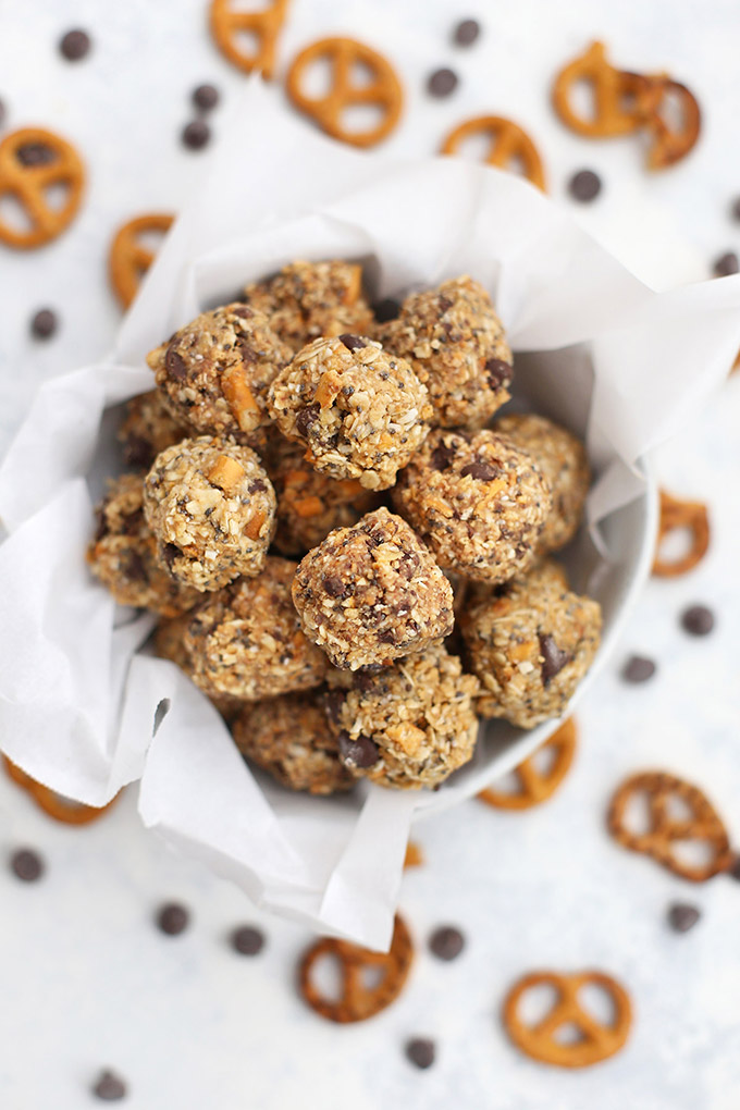 Gluten Free Sweet & Salty Peanut Butter Pretzel Energy Bites - The perfect blend of salty and sweet!