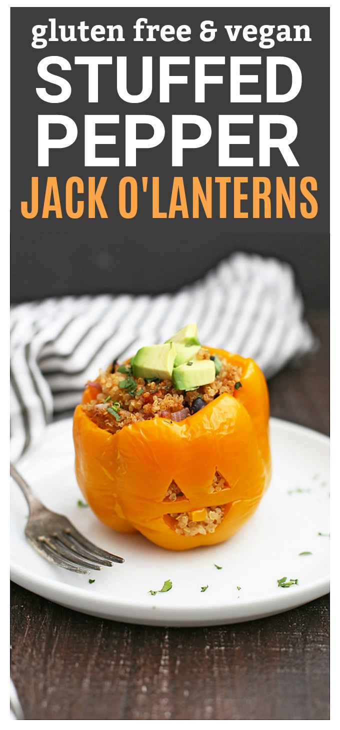 These little stuffed pepper Jack O'Lanterns are the cutest Halloween dinner! (gluten free, vegan)