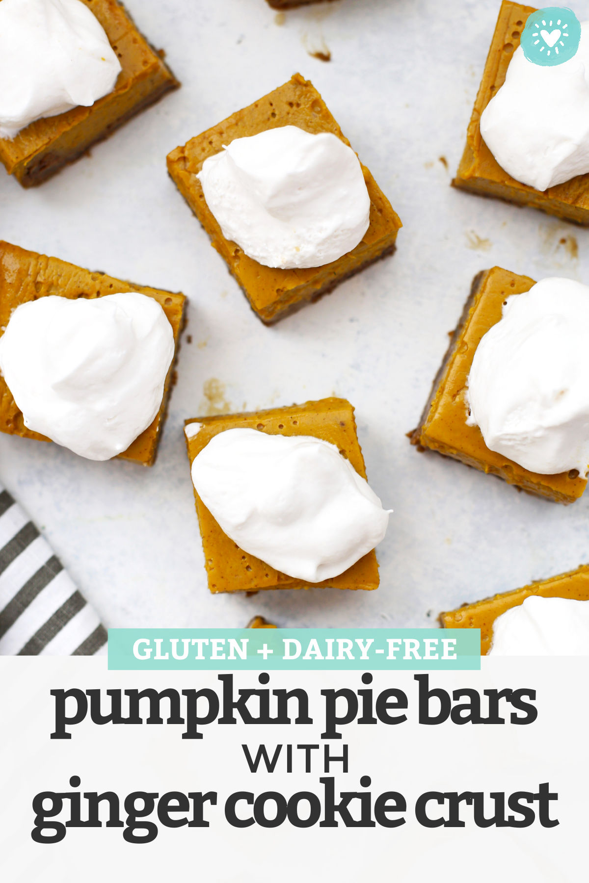 Gluten-Free Pumpkin Pie Bars with Ginger Cookie Crust – Swap out the pumpkin pie for these easy gluten-free pumpkin pie bars. The cookie crust makes them so easy! They slice and serve like a dream! Dairy-free pumpkin pie bars // Pumpkin Pie Bars recipe // Thanksgiving Dessert // Holiday Dessert // Fall Dessert #pie #pumpkinpie #glutenfree #thanskgiving