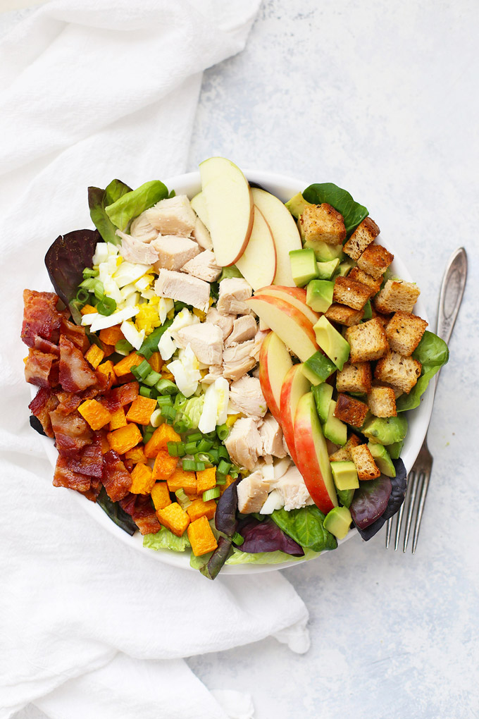 Fall Cobb Salad with Rosemary Croutons - Gluten free, dairy free PLUS paleo & Whole30 friendly!