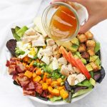 Fall Cobb Salad with Cider Vinaigrette! This salad has so much autumn goodness! (Gluten free, dairy free, paleo & whole30 friendly)