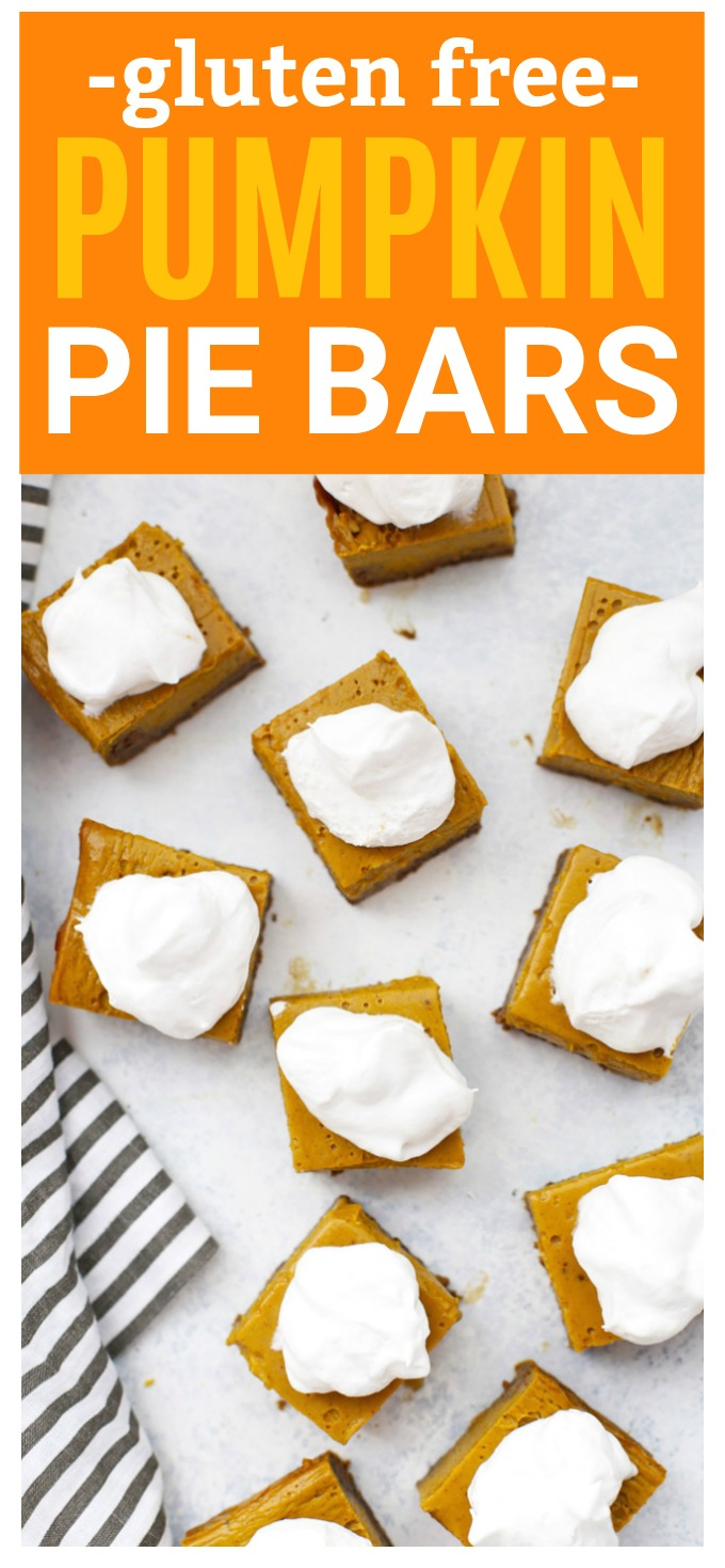Gluten Free Pumpkin Pie Bars with Ginger Cookie Crust - Swap out the pumpkin pie for these easy pumpkin pie bars. The cookie crust makes them so easy! They slice and serve like a dream!