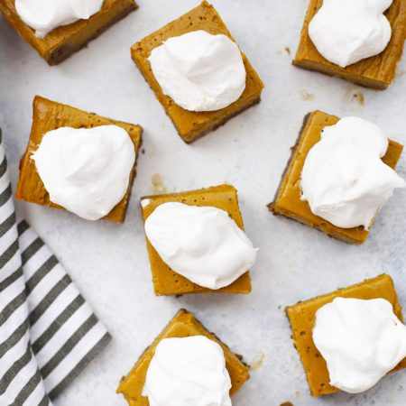 Gluten Free Pumpkin Pie Bars with Ginger Cookie Crust - The crust is amazing, and the filling is so easy!