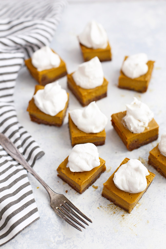 Gluten Free Pumpkin Pie Bars with Ginger Cookie Crust - Easy to serve and share!