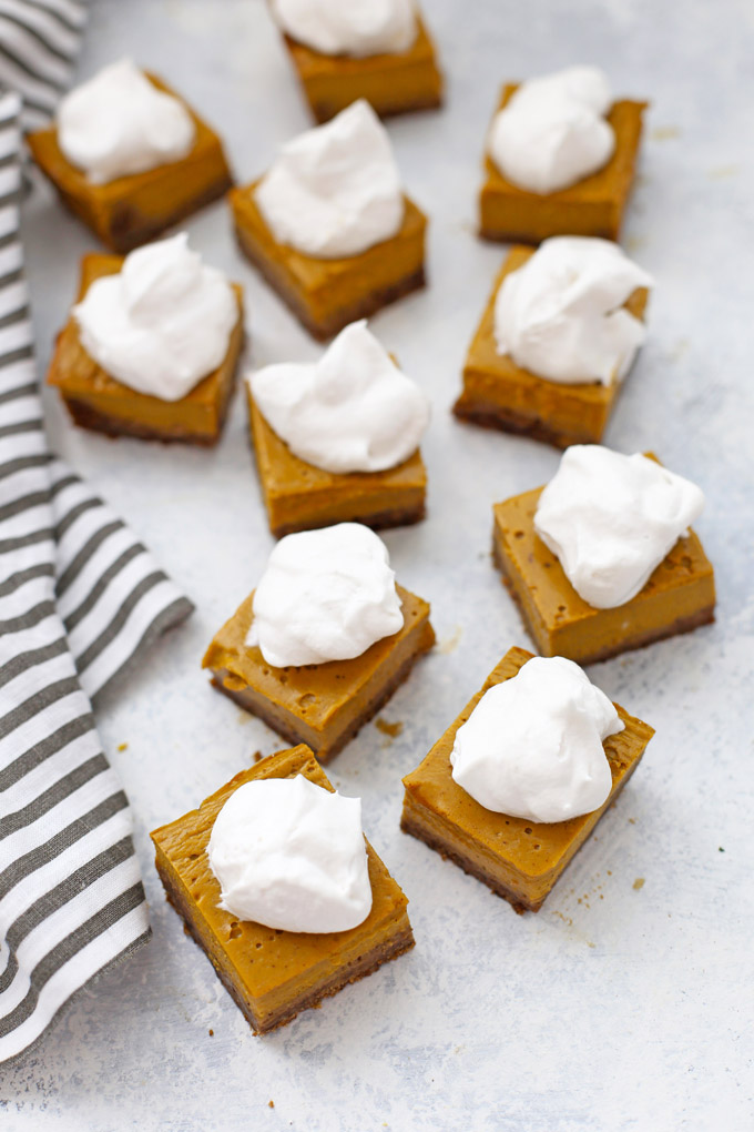 Gluten Free Pumpkin Pie Bars with Ginger Cookie Crust - SUCH a yummy twist on pumpkin pie!