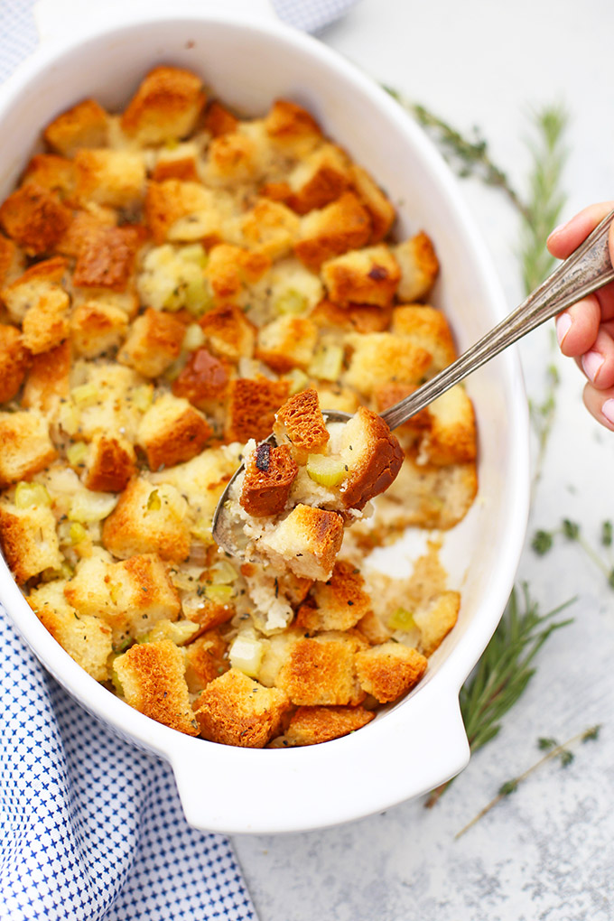 The BEST Gluten Free Stuffing (or Dressing!) - This classic recipe has just the right blend of herbs. Plus, you can add sausage, dried fruit, etc. Make it as dressing or stuffing!
