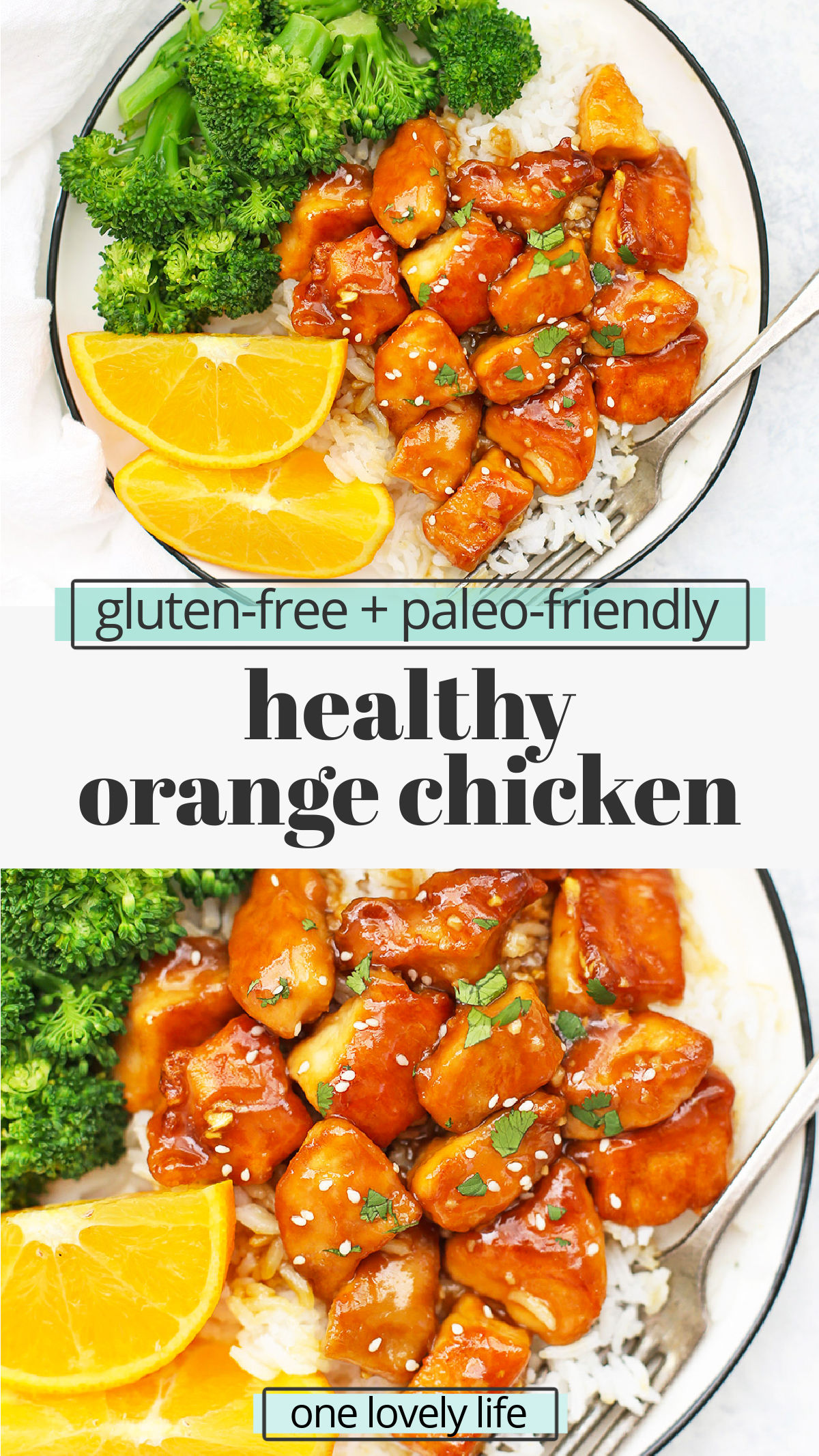 Healthy Orange Chicken (Gluten Free, Paleo Friendly) - Our whole family loves this homemade orange chicken. The chicken is crispy and the sauce is delicious! // Orange chicken recipe // paleo orange chicken // gluten free orange chicken // healthy dinner // takeout fake out #orangechicken #chicken #paleo #glutenfree #healthy #healthydinner