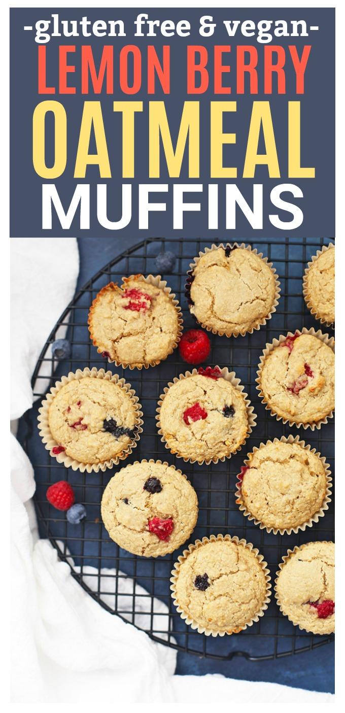 Healthy Lemon Berry Oatmeal Muffins - Gluten free, vegan, and SO good!