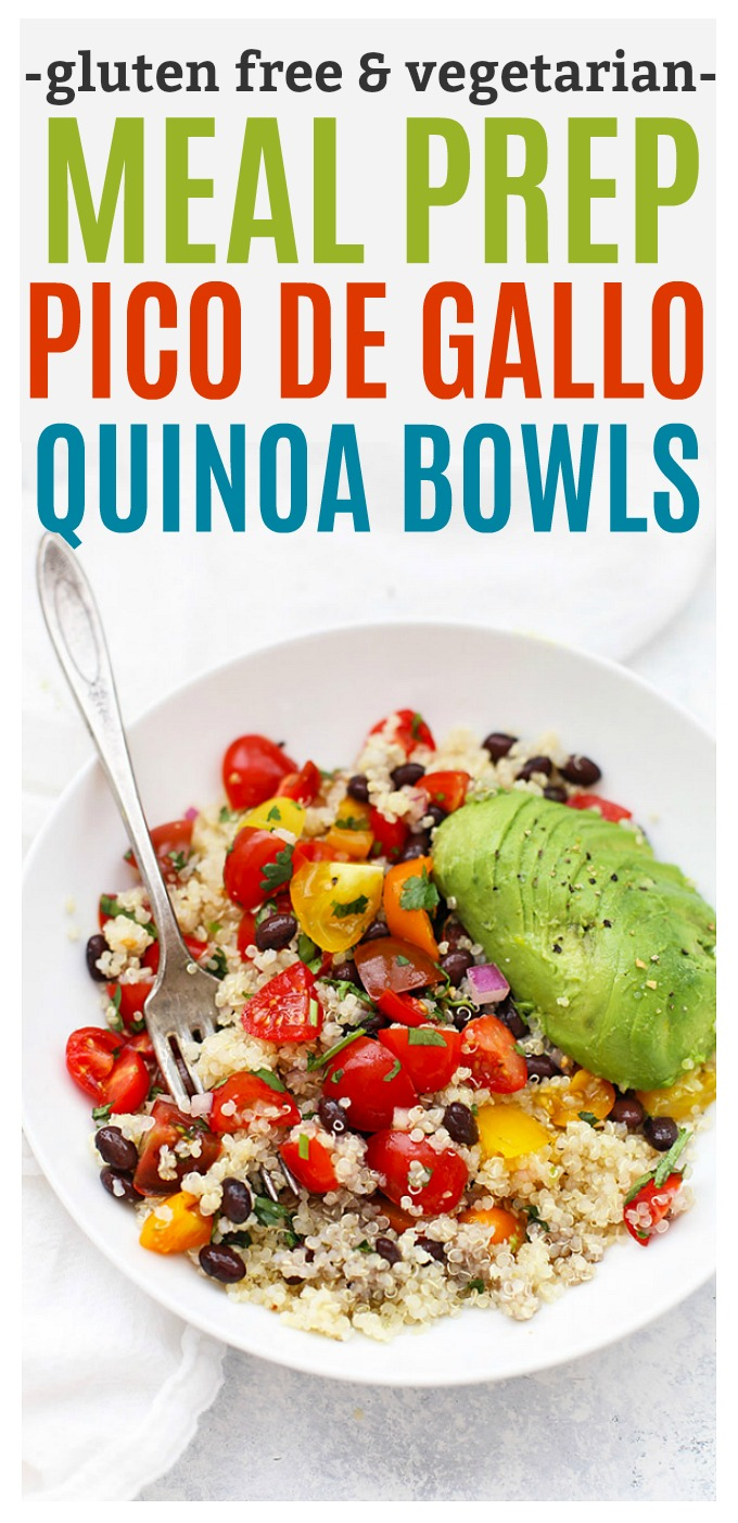 Pico de Gallo Quinoa Bowls. We love this easy meatless meal prep lunch!  (Gluten free, vegetarian, vegan friendly)
