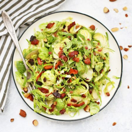Bacon Brussels Sprouts Salad with Cherries and Almonds (Paleo, Gluten Free, Whole30 friendly)