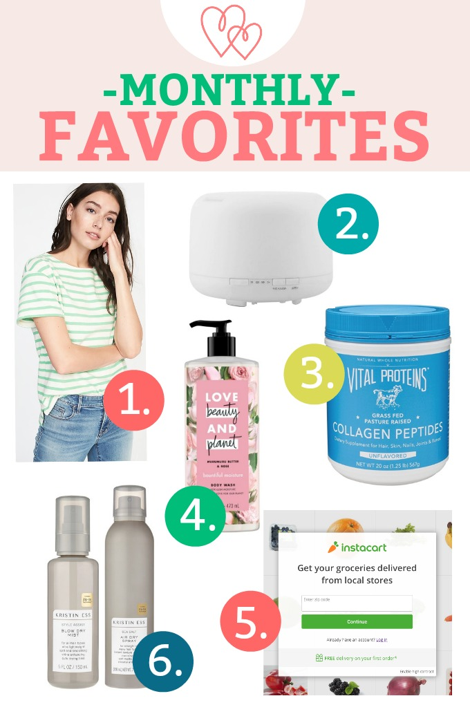 Monthly Favorites - Hair products I'm loving, the collagen that's helping my hair/skin/nails, a classic spring tee, and more!