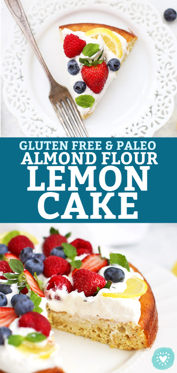 2-Image Collage of Gluten Free & Paleo Almond Flour Lemon Cake topped with Coconut Whipped Cream and Fresh Berries from One Lovely Life
