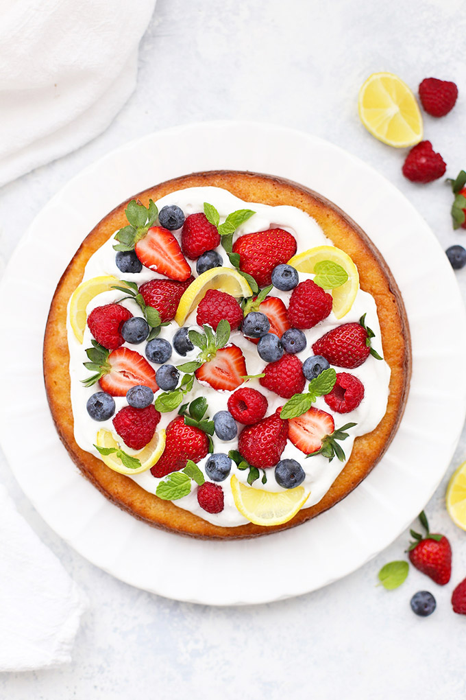 Gluten Free & Paleo Almond Flour Lemon Cake - the perfect spring, summer, or Easter dessert!